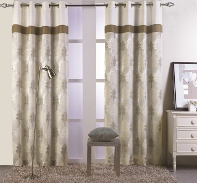 KC HOME Polycotton Beige Floral Curtain Window Curtain