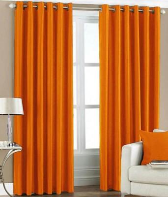Shiv Fabs Polyester Orange Plain Ring Rod Window Curtain