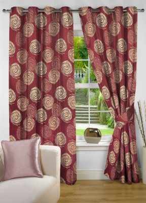 NuHome Decor Polyester Red Printed Eyelet Window Curtain