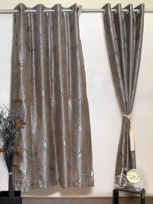 Puma Polyester Brown, Blue Self Design Eyelet Door Curtain