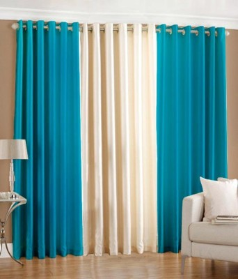 Export Hub Polyester Blue, Beige Plain Eyelet Door Curtain
