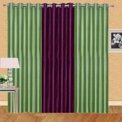 Shiv Shankar Handloom Polyester Green, Wine Crush Solid Eyelet Door Curtain