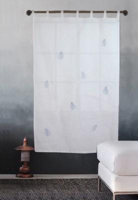 Milano Home Cotton Multicolor Embroidered Tab Top Window & Door Curtain