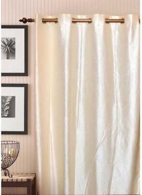 Shopgalore Polyester Beige Plain Eyelet Window & Door Curtain