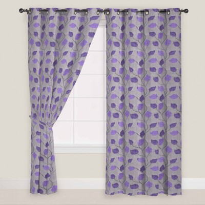 Presto Polyester Purple:Grey Motif Eyelet Door Curtain