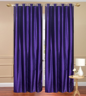 Daddyhomes Polyester Purple Solid Eyelet Door Curtain
