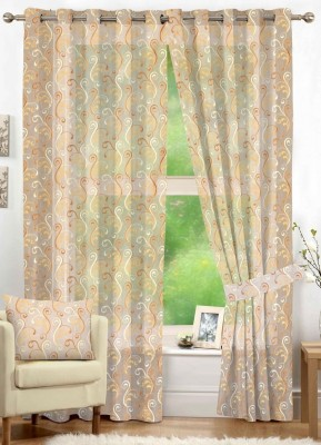 NuHome Decor Polyester Beige Embroidered Eyelet Window Curtain