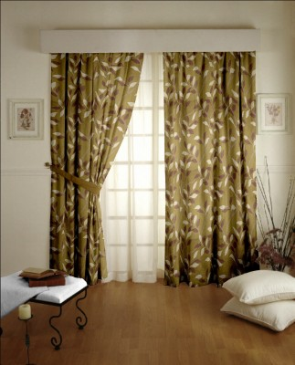 Dreamscape Blends Brown Abstract Eyelet Door Curtain