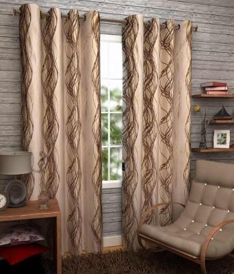 Sanaya Polycotton Brown Printed Eyelet Door Curtain