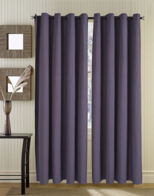 Home Boutique Cotton Purple Abstract Eyelet Long Door Curtain