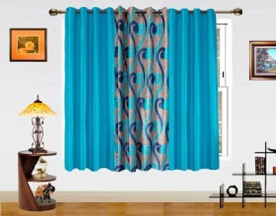 Dekor World Polyester Blue Solid Eyelet Window Curtain