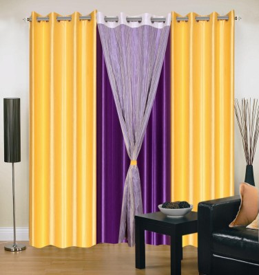 Shopgrab Polyester Yellow Solid Eyelet Door Curtain