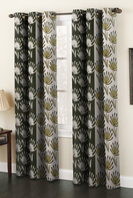 La elite Polyester Green Printed Eyelet Window Curtain