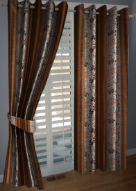 BNA Decor Polyester Brown Floral Eyelet Window Curtain