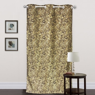 R home Polyester Brown Floral Eyelet Door Curtain