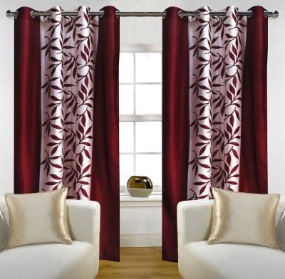 RK Home Furnishing Polycotton Maroon Self Design Eyelet Long Door Curtain