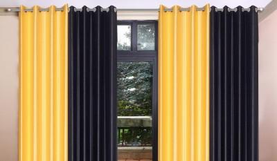 KB Polyester Yellow Plain Eyelet Window Curtain