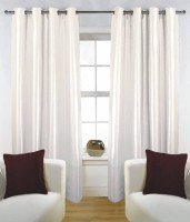 Fabutex Polyester White Solid Eyelet Door Curtain(210 cm in Height, Pack of 4)