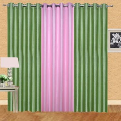 Excel Bazaar Polycotton Pista-1lightpink Plain Eyelet Door Curtain