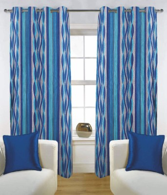 Fabutex Polyester Blue Abstract Eyelet Door Curtain