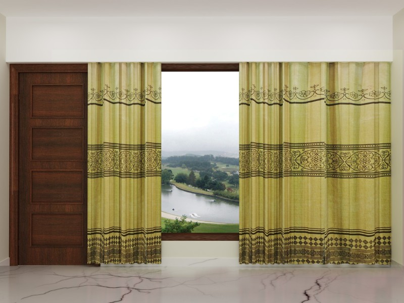 Zeneeze Decor Polyester Yellow Embroidered Eyelet Door Curtain(102 inch in Height, Single Curtain)