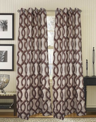 Trendzone Cotton, Chenille Maroon Striped Eyelet Door Curtain