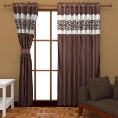 Royal Shri Om Polyester Brown Plain Eyelet Door Curtain