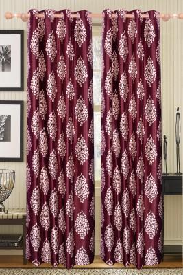 Furnishing Kingdom Polyester Golden, Maroon Abstract Eyelet Door Curtain