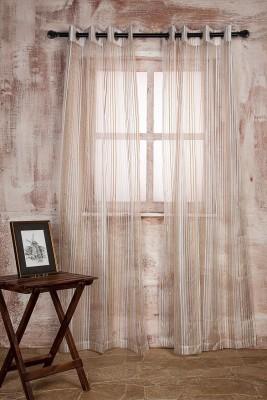 Marigold Polyester WHITEBEIGE Striped Curtain Door Curtain