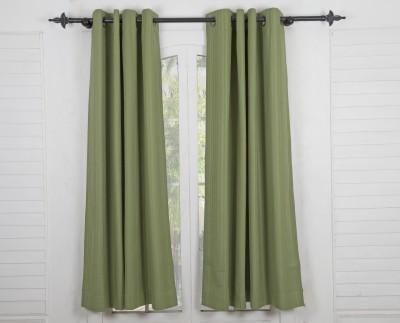Maspar Cotton Green Striped Eyelet Window Curtain