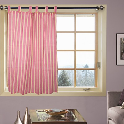 Handloom Factory Cotton Pink Striped Tab Top Window Curtain