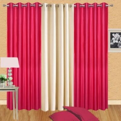 Shiv Shankar Handloom Polyester Dark Pink, Cream Crush Solid Eyelet Door Curtain