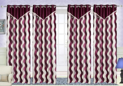 Comfort Zone Polyester Purple Abstract Eyelet Long Door Curtain