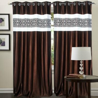 Hargunz Polyester Brown Self Design Eyelet Door Curtain