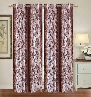 HomeTex Polyester Dark Brown, Silver Printed Printed Eyelet Door Curtain