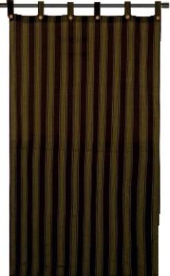 Venkateswarafabrics Cotton Black, Yellow Striped Tab Top Window Curtain