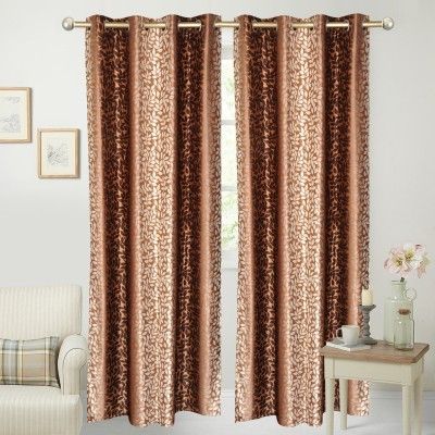 Yellow Weaves Polyester Brown Floral Curtain Door Curtain