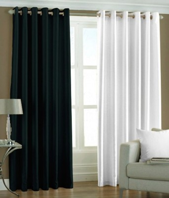 Sls Dreams Polyester Black, White Plain Eyelet Long Door Curtain
