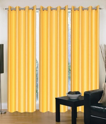 Divine Decor Polyester Yellow Solid Eyelet Door Curtain