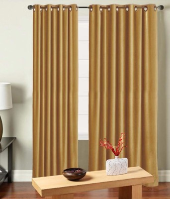 Saral Home Polyester Camel Solid Eyelet Door Curtain