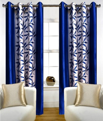MSJ Polyester Blue Printed Eyelet Door Curtain