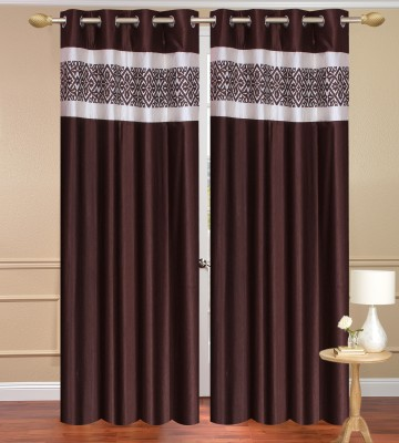 Daddyhomes Polyester Brown Plain Curtain Door Curtain
