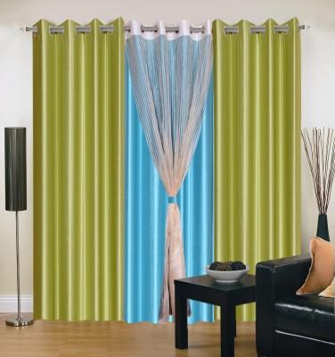 Shopgrab Polyester Light Green Solid Eyelet Door Curtain