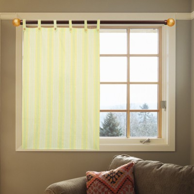 Kings Polycotton Green Striped Eyelet Door Curtain