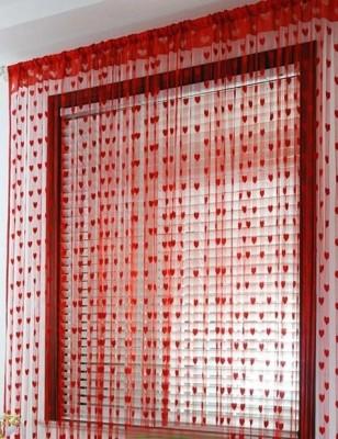 Sai Arpan Polyester Red Floral Eyelet Door Curtain