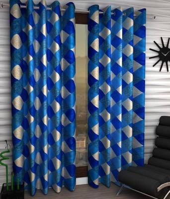 Panipat Textile Hub Polyester Blue Floral Eyelet Window Curtain