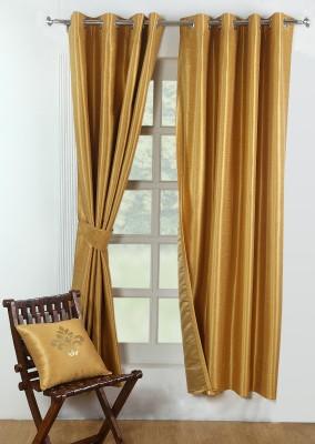 Avocett Polycotton Antique, Mustard, Golden Plain Eyelet Door Curtain