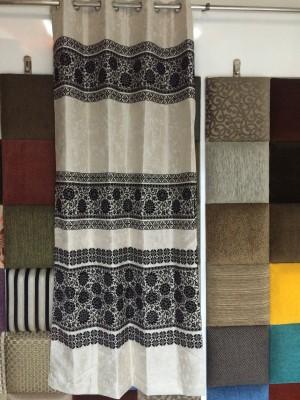 Royal Polyester Black, Cream Floral Curtain Door Curtain