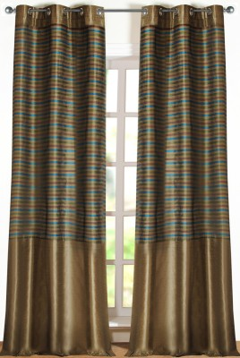 Deco Window Polyester Beige Printed Eyelet Door Curtain