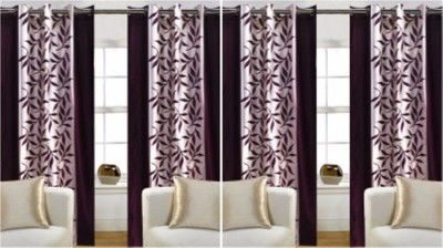 FriendClub Polyester Brown Striped Eyelet Window Curtain